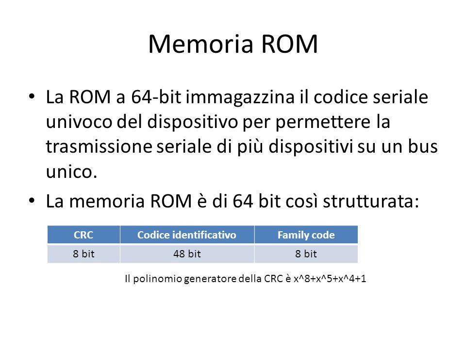 Memoria ROM La ROM a 64-bit immagazzina il codice seriale univoco del dispositivo per permettere la trasmissione seriale di più dispositivi su un bus