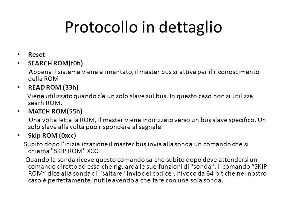 Protocollo in dettaglio Reset SEARCH ROM(f0h) Appena il sistema viene alimentato, il master bus si attiva per il riconoscimento della ROM READ ROM (33