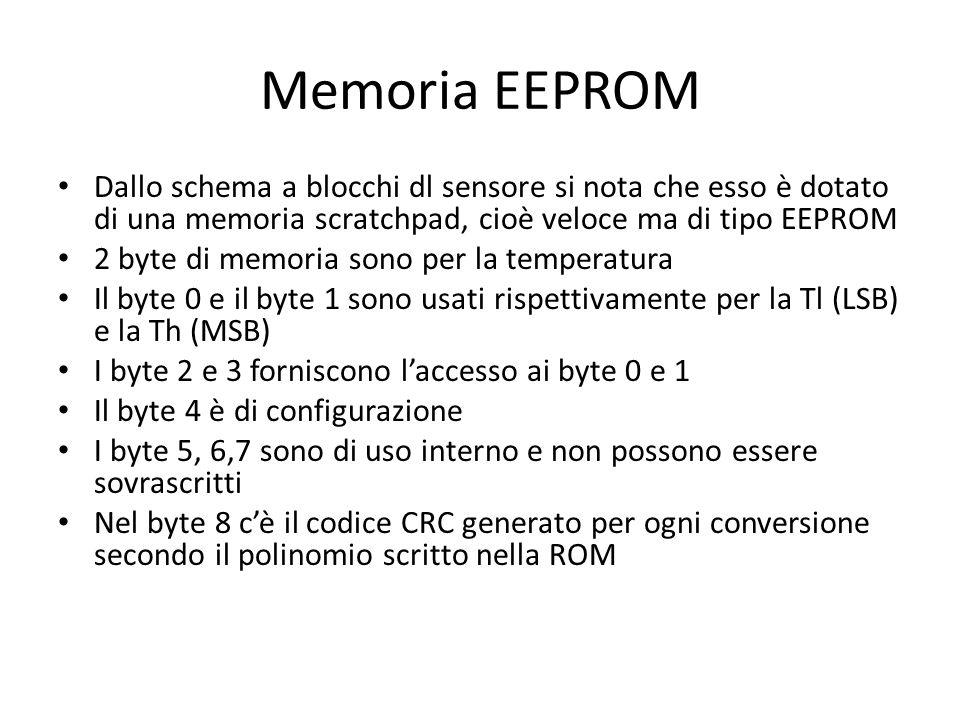 Memoria EEPROM Dallo schema a blocchi dl sensore si nota che esso è dotato di una memoria scratchpad, cioè veloce ma di tipo EEPROM 2 byte di memoria