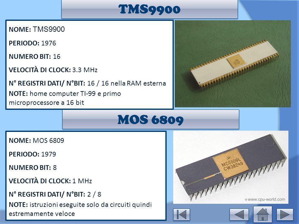TMS9900 NOME: TMS9900 PERIODO: 1976 NUMERO BIT: 16 VELOCITÀ DI CLOCK: 3.3 MHz N° REGISTRI DATI/ N°BIT: 16 / 16 nella RAM esterna NOTE: home computer T