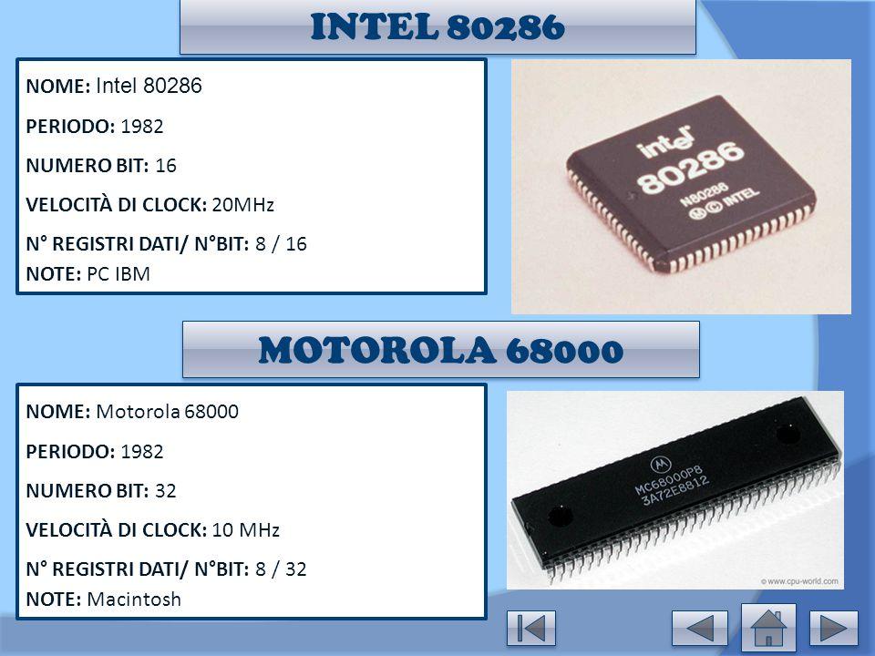 INTEL 80286 NOME: Intel 80286 PERIODO: 1982 NUMERO BIT: 16 VELOCITÀ DI CLOCK: 20MHz N° REGISTRI DATI/ N°BIT: 8 / 16 NOTE: PC IBM NOME: Motorola 68000