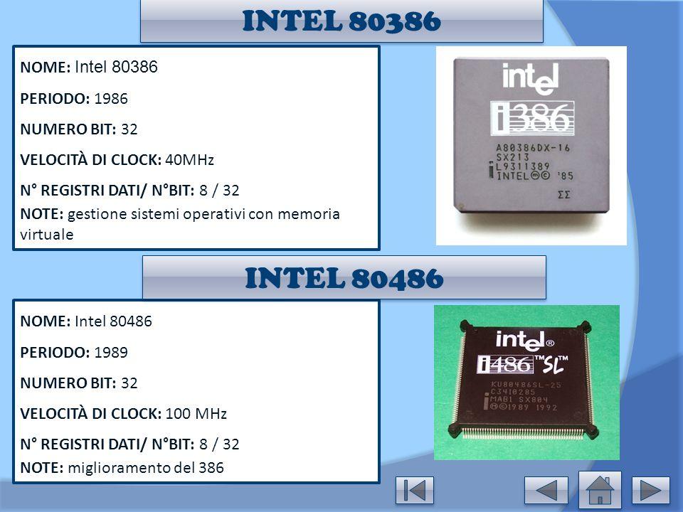 INTEL 80386 NOME: Intel 80386 PERIODO: 1986 NUMERO BIT: 32 VELOCITÀ DI CLOCK: 40MHz N° REGISTRI DATI/ N°BIT: 8 / 32 NOTE: gestione sistemi operativi c