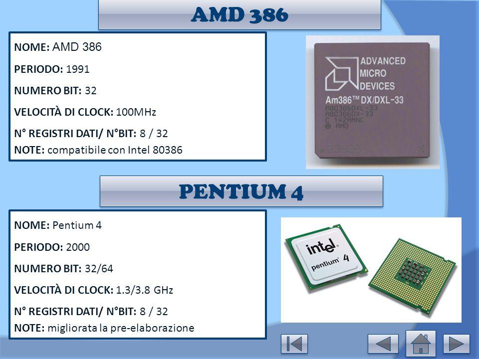 AMD 386 NOME: AMD 386 PERIODO: 1991 NUMERO BIT: 32 VELOCITÀ DI CLOCK: 100MHz N° REGISTRI DATI/ N°BIT: 8 / 32 NOTE: compatibile con Intel 80386 NOME: P