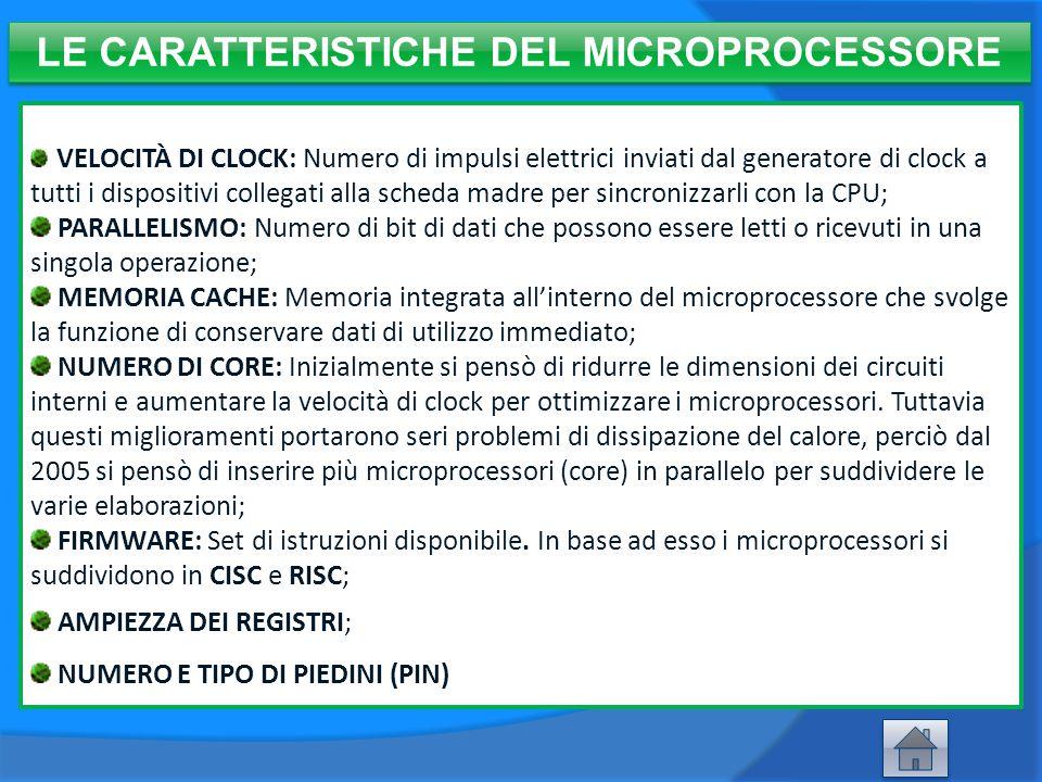 LE CARATTERISTICHE DEL MICROPROCESSORE VELOCITÀ DI CLOCK: Numero di impulsi elettrici inviati dal generatore di clock a tutti i dispositivi collegati