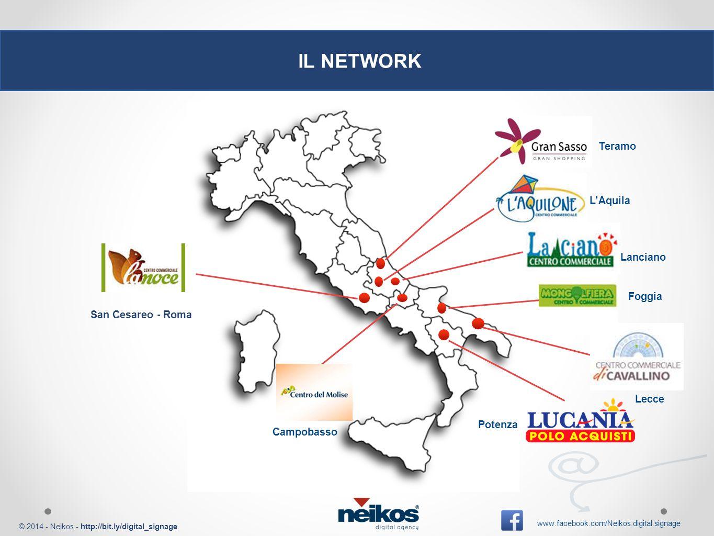 © 2014 - Neikos - http://bit.ly/digital_signage www.facebook.com/Neikos.digital.signage IL NETWORK Foggia Campobasso San Cesareo - Roma Potenza Lecce L'Aquila Lanciano Teramo