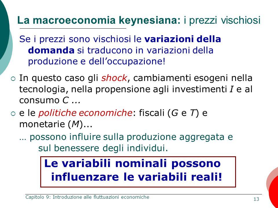 13 Capitolo 9: Introduzione alle fluttuazioni economiche La macroeconomia keynesiana: i prezzi vischiosi Se i prezzi sono vischiosi le variazioni dell