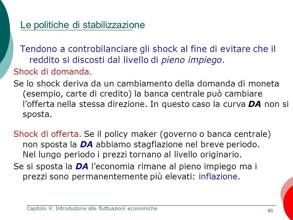 46 Capitolo 9: Introduzione alle fluttuazioni economiche Le politiche di stabilizzazione Tendono a controbilanciare gli shock al fine di evitare che i