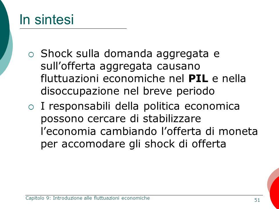 51 Capitolo 9: Introduzione alle fluttuazioni economiche In sintesi  Shock sulla domanda aggregata e sull'offerta aggregata causano fluttuazioni econ