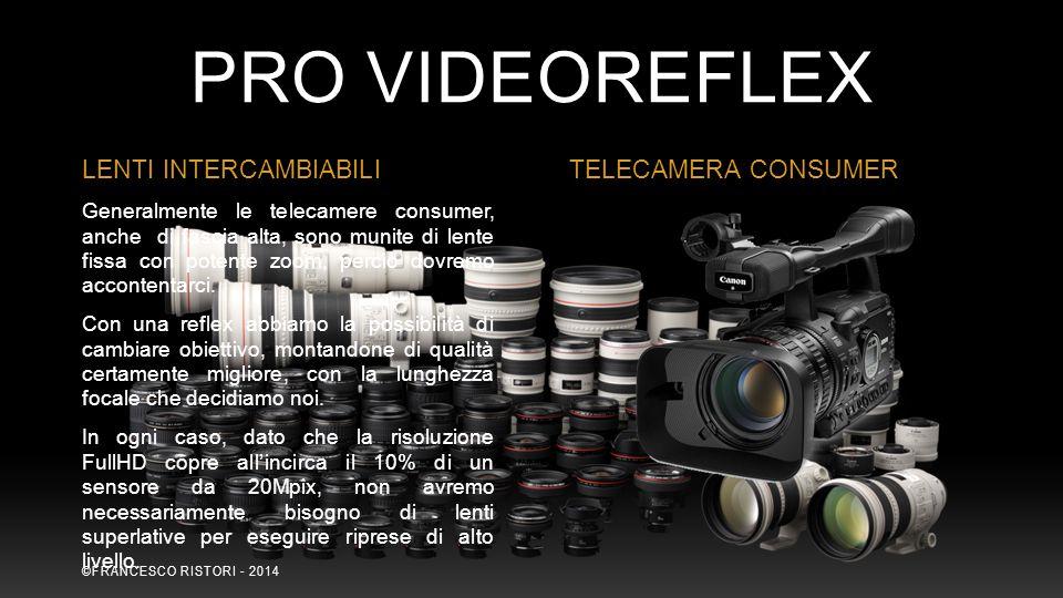 Generalmente le telecamere consumer, anche di fascia alta, sono munite di lente fissa con potente zoom, perciò dovremo accontentarci. Con una reflex a