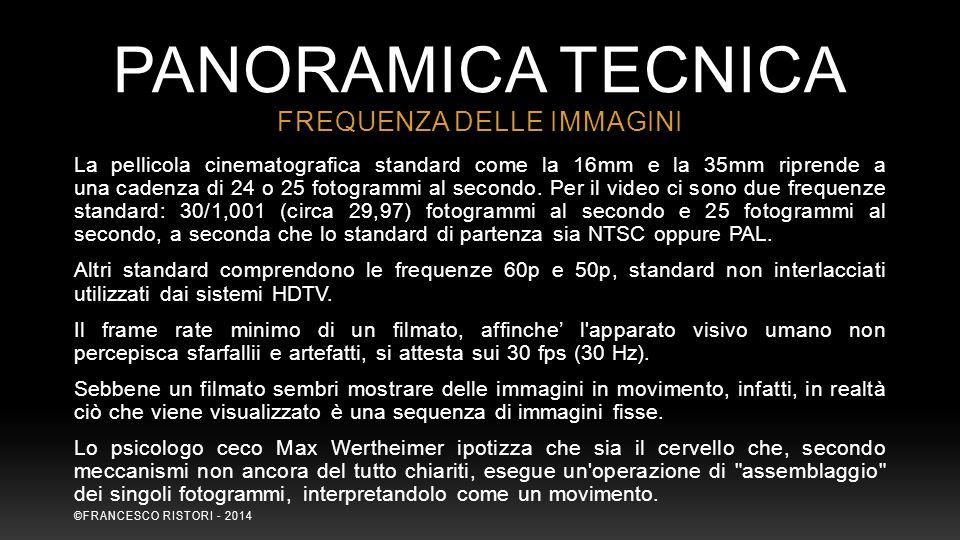 PANORAMICA TECNICA La pellicola cinematografica standard come la 16mm e la 35mm riprende a una cadenza di 24 o 25 fotogrammi al secondo. Per il video