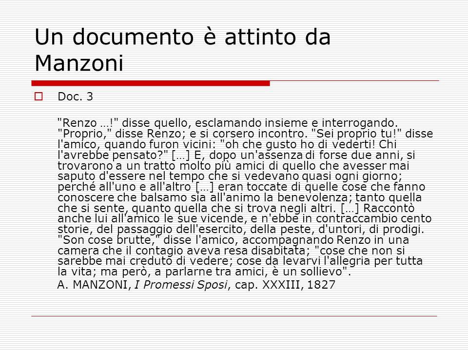 Un documento è attinto da Manzoni  Doc. 3