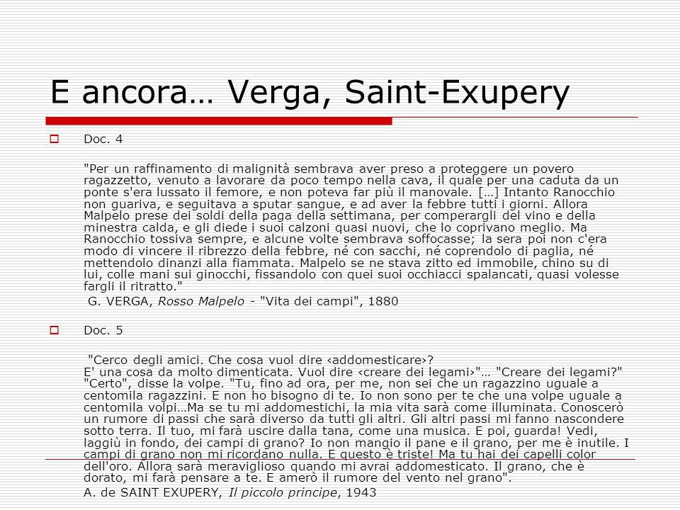 E ancora… Verga, Saint-Exupery  Doc. 4