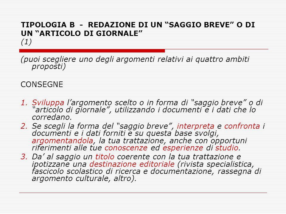 """TIPOLOGIA B - REDAZIONE DI UN """"SAGGIO BREVE"""" O DI UN """"ARTICOLO DI GIORNALE"""" (1) (puoi scegliere uno degli argomenti relativi ai quattro ambiti propost"""