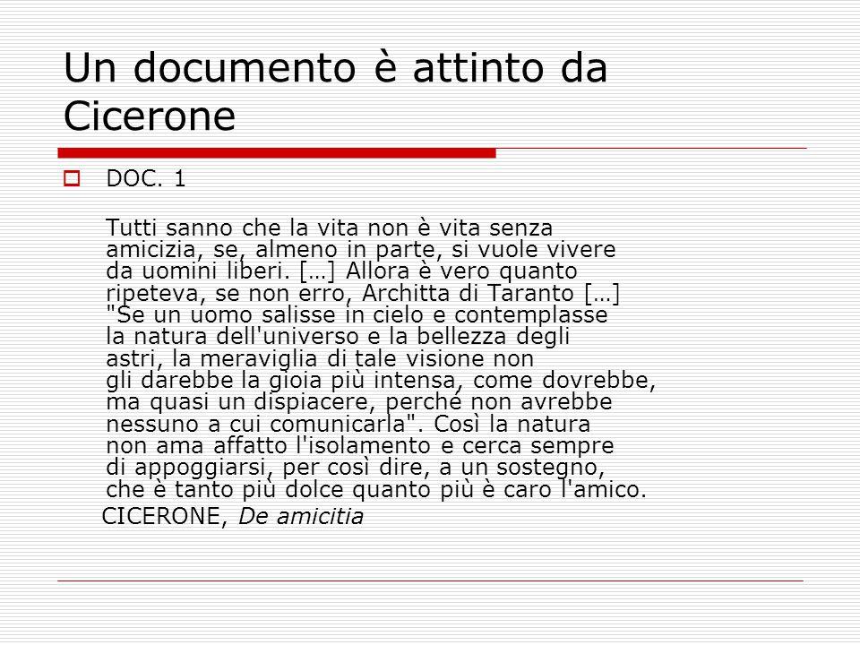 Un documento è attinto da Cicerone  DOC. 1 Tutti sanno che la vita non è vita senza amicizia, se, almeno in parte, si vuole vivere da uomini liberi.