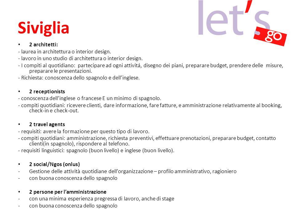 Siviglia 2 architetti: - laurea in architettura o interior design.