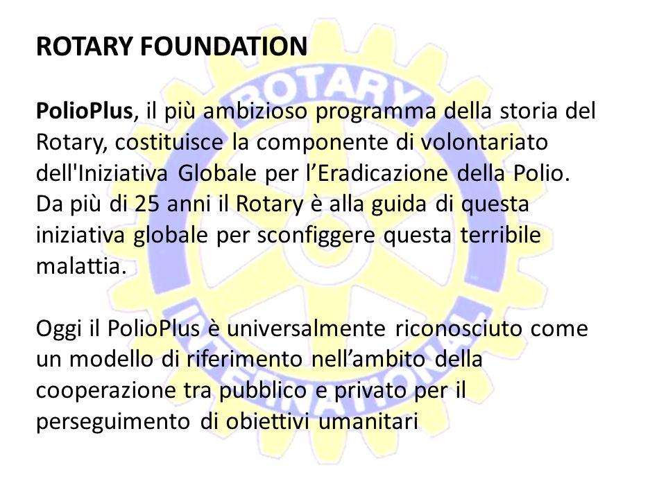 ROTARY FOUNDATION La Fondazione Rotary è un'associazione senza fini di lucro la cui missione consiste nell'aiutare i Rotariani a promuovere la compren