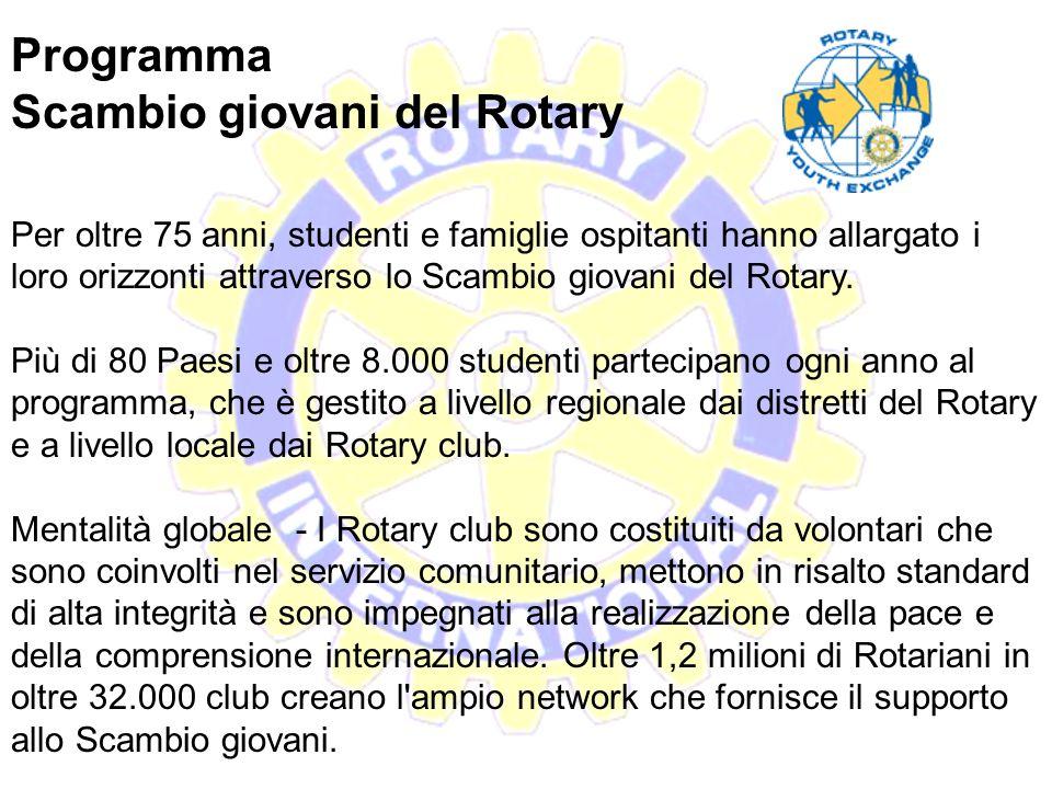 Programma Scambio giovani del Rotary Gli studenti dello Scambio giovani del Rotary, hanno la possibilità di vivere fino a un anno presso alcune famigl