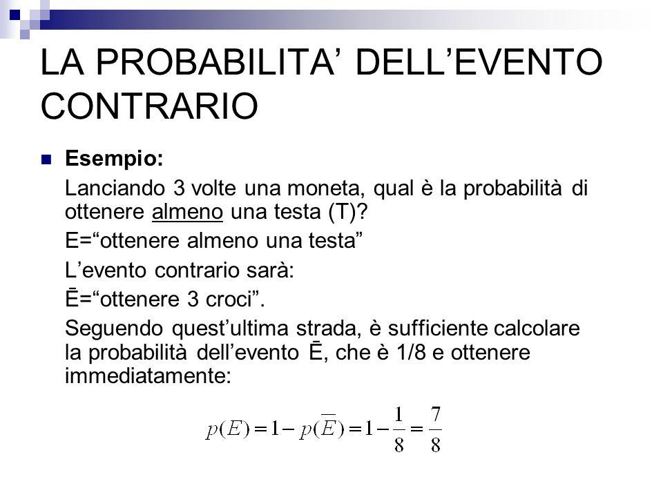 LA PROBABILITA' DELL'EVENTO CONTRARIO Esempio: Lanciando 3 volte una moneta, qual è la probabilità di ottenere almeno una testa (T).