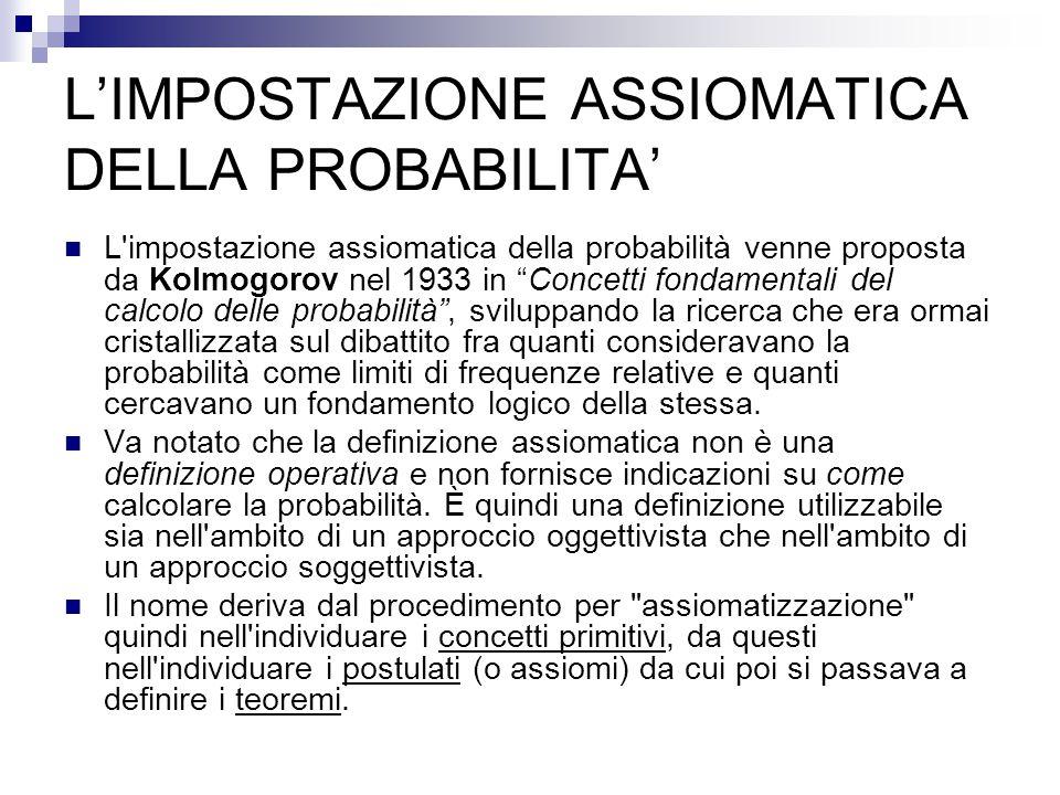 L'IMPOSTAZIONE ASSIOMATICA DELLA PROBABILITA' L impostazione assiomatica della probabilità venne proposta da Kolmogorov nel 1933 in Concetti fondamentali del calcolo delle probabilità , sviluppando la ricerca che era ormai cristallizzata sul dibattito fra quanti consideravano la probabilità come limiti di frequenze relative e quanti cercavano un fondamento logico della stessa.