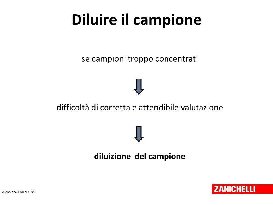 © Zanichelli editore 2013 Diluire il campione se campioni troppo concentrati difficoltà di corretta e attendibile valutazione diluizione del campione