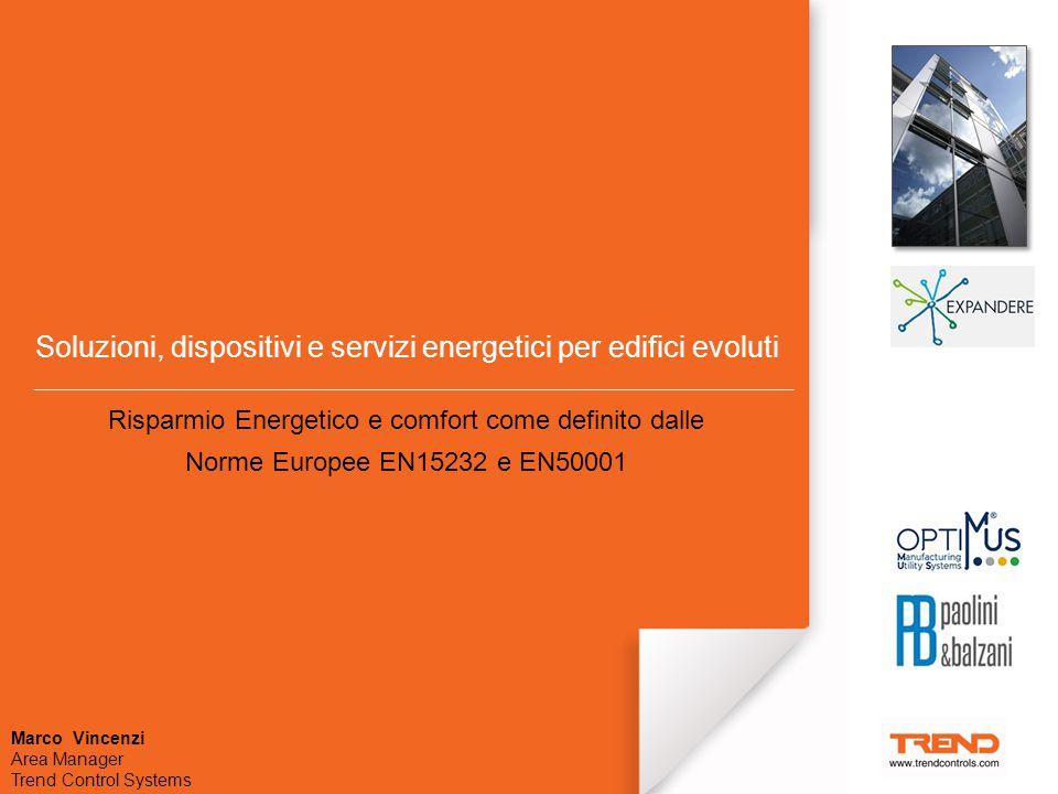 Soluzioni, dispositivi e servizi energetici per edifici evoluti Risparmio Energetico e comfort come definito dalle Norme Europee EN15232 e EN50001 Marco Vincenzi Area Manager Trend Control Systems