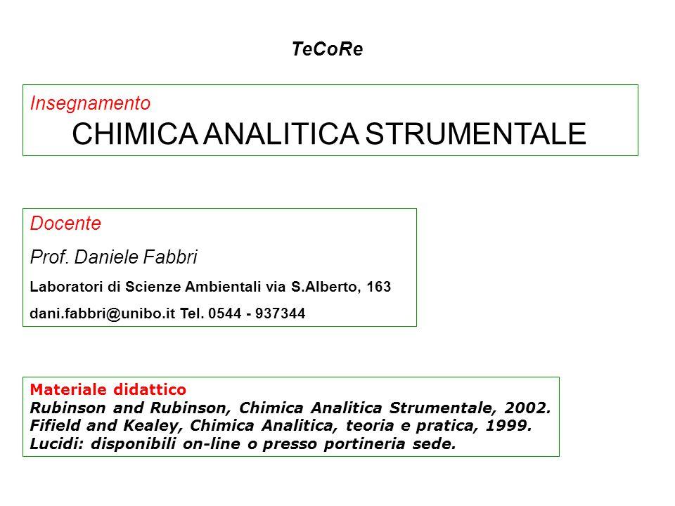 PROGRAMMA PARTE PRIMA.Fasi di un procedimento analitico Valutazione del metodo analitico.