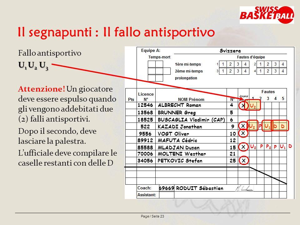 Page / Seite 23 Il segnapunti : Il fallo antisportivo Fallo antisportivo U 1 U 2 U 3 Attenzione.