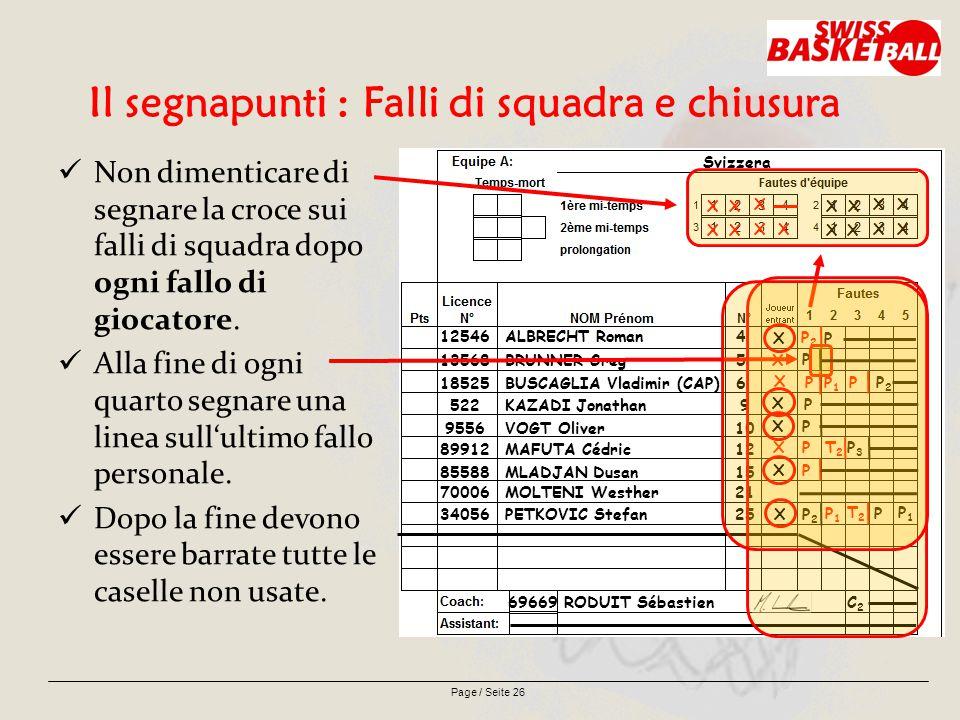 Page / Seite 26 Il segnapunti : Falli di squadra e chiusura Non dimenticare di segnare la croce sui falli di squadra dopo ogni fallo di giocatore.