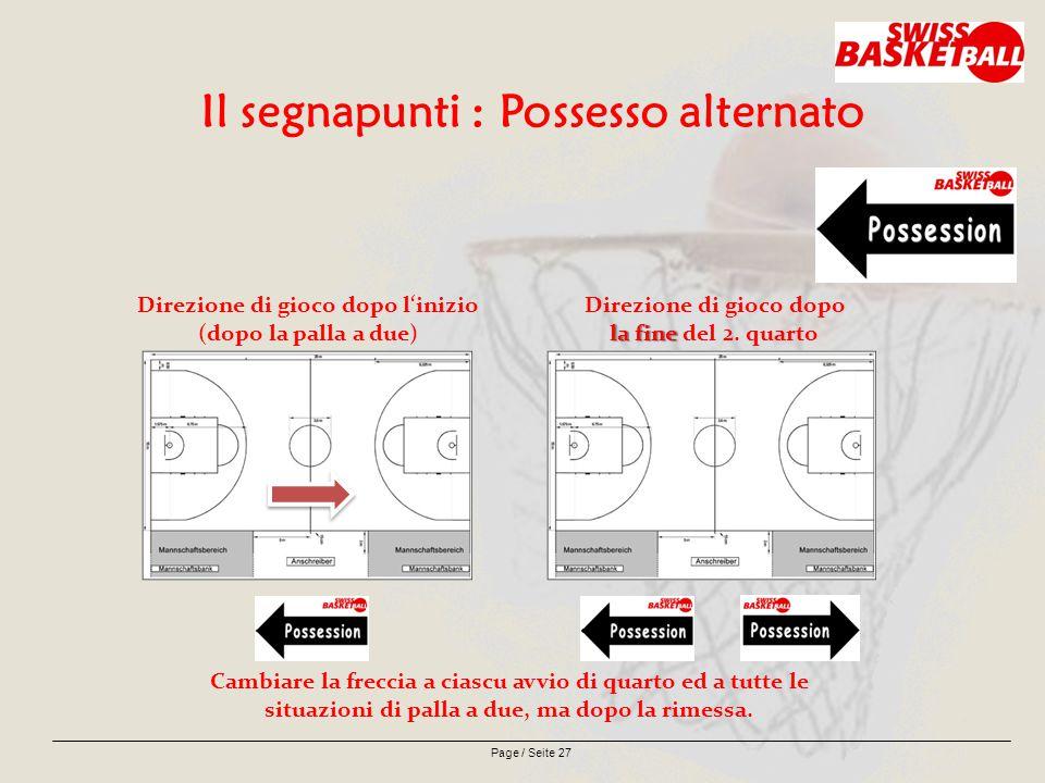 Page / Seite 27 Il segnapunti : Possesso alternato Direzione di gioco dopo l'inizio (dopo la palla a due) la fine Direzione di gioco dopo la fine del 2.