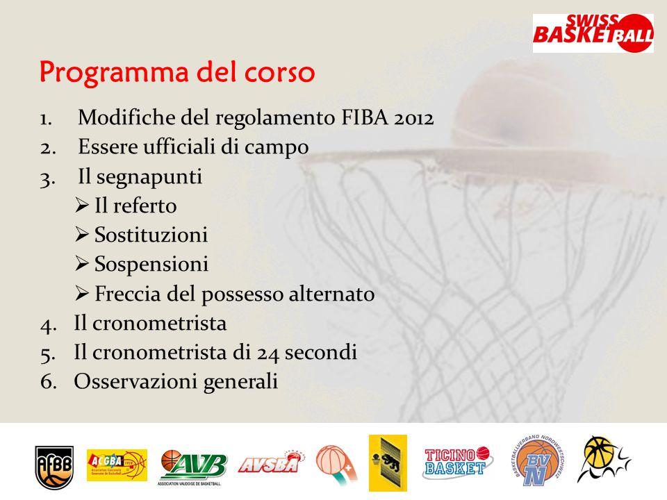 Programma del corso 1.Modifiche del regolamento FIBA 2012 2.Essere ufficiali di campo 3.Il segnapunti IIl referto SSostituzioni SSospensioni FFreccia del possesso alternato 4.Il cronometrista 5.Il cronometrista di 24 secondi 6.Osservazioni generali