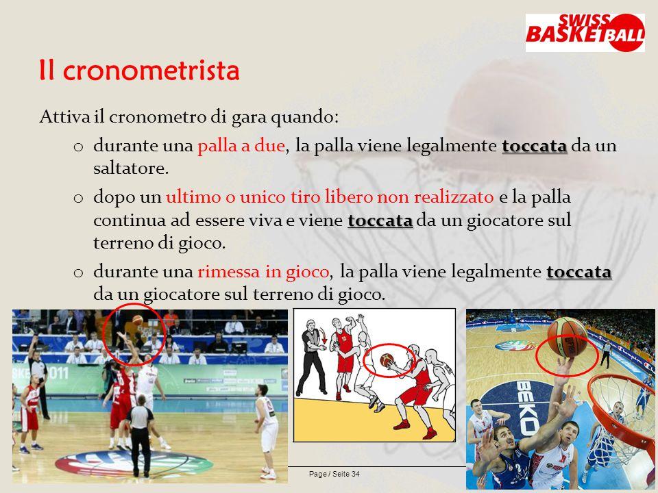 Page / Seite 34 Il cronometrista Attiva il cronometro di gara quando: toccata o durante una palla a due, la palla viene legalmente toccata da un saltatore.