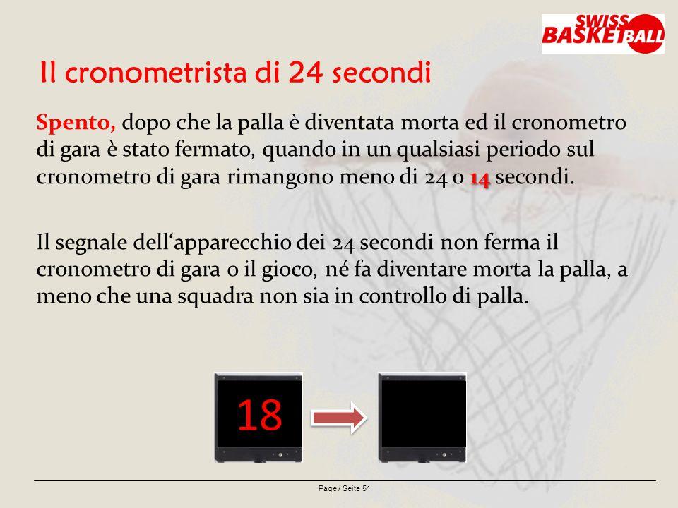 Page / Seite 51 Il cronometrista di 24 secondi 14 Spento, dopo che la palla è diventata morta ed il cronometro di gara è stato fermato, quando in un qualsiasi periodo sul cronometro di gara rimangono meno di 24 o 14 secondi.