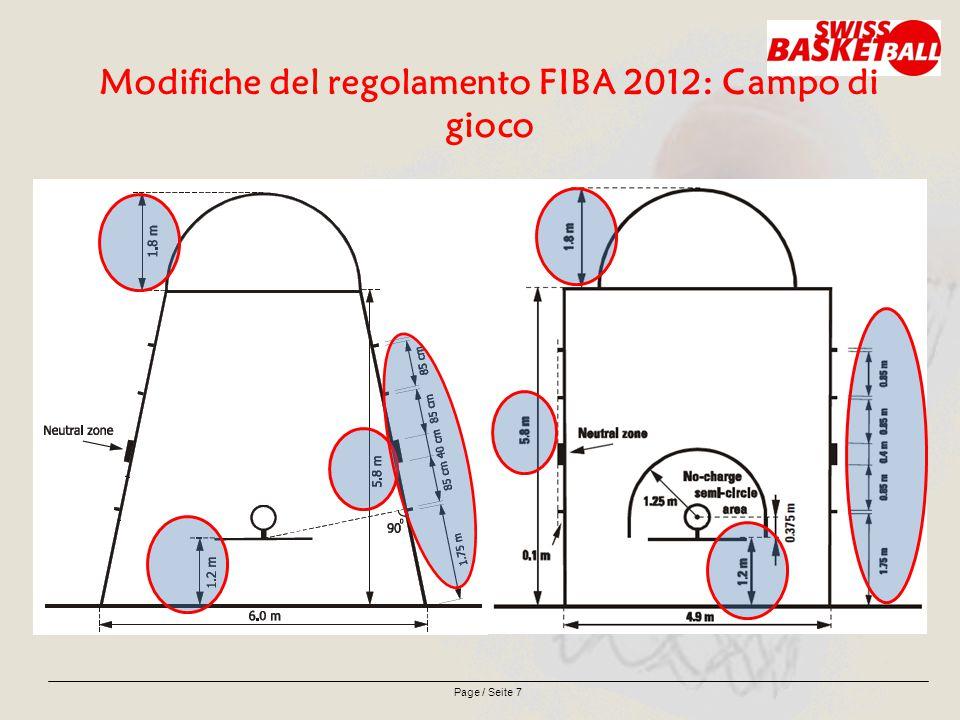 Page / Seite 8 Modifiche del regolamento FIBA 2012: Linee di rimessa Le due linee di 15 cm di lunghezza devono essere tracciate all'esterno del terreno di gioco, sulle linee laterali opposte al tavolo degli ufficiali di campo, con il bordo esterno delle linee a 8,325 m dal bordo interno della linea di fondo vicina.