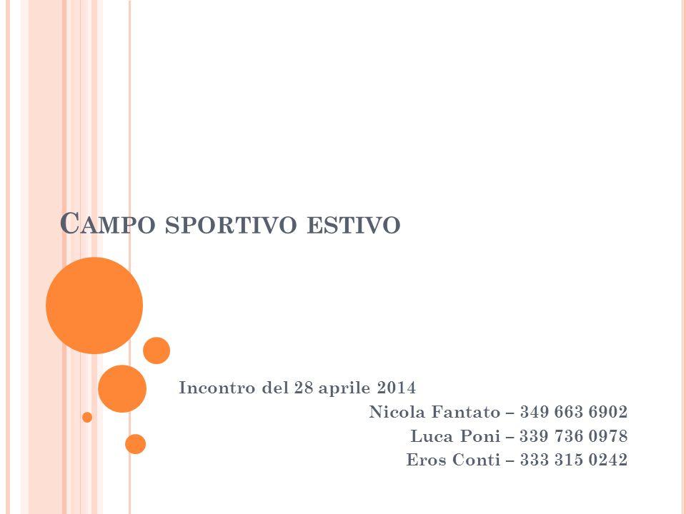 C AMPO SPORTIVO ESTIVO Incontro del 28 aprile 2014 Nicola Fantato – 349 663 6902 Luca Poni – 339 736 0978 Eros Conti – 333 315 0242