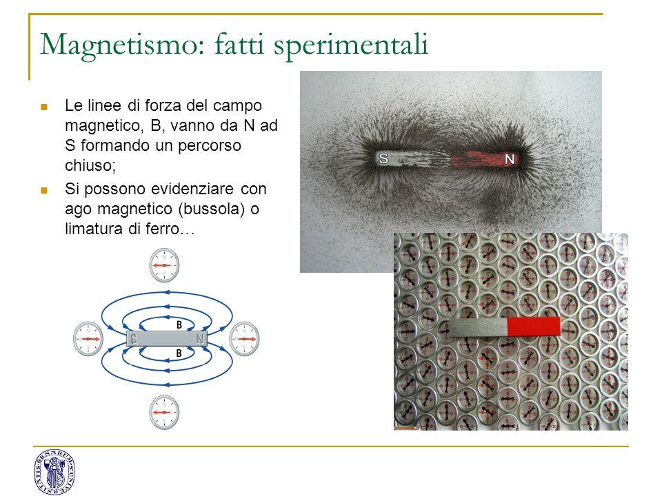 Magnetismo: fatti sperimentali Le linee di forza del campo magnetico, B, vanno da N ad S formando un percorso chiuso; Si possono evidenziare con ago m
