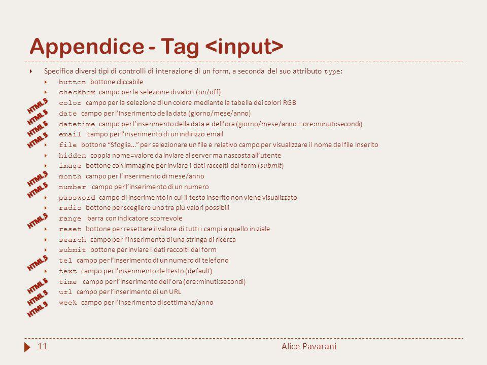Appendice - Tag 11  Specifica diversi tipi di controlli di interazione di un form, a seconda del suo attributo type :  button bottone cliccabile  c