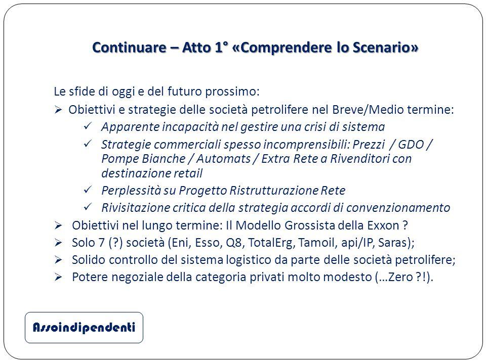 Continuare – Atto 1° «Comprendere lo Scenario» Le sfide di oggi e del futuro prossimo:  Obiettivi e strategie delle società petrolifere nel Breve/Med