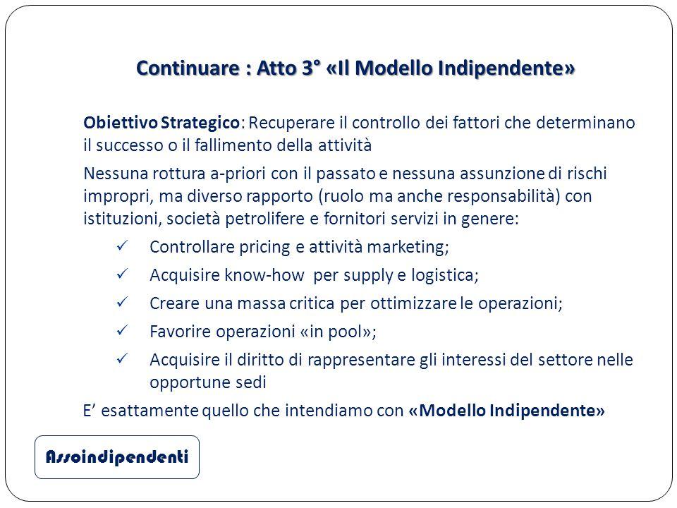 Continuare : Atto 3° «Il Modello Indipendente» Obiettivo Strategico: Recuperare il controllo dei fattori che determinano il successo o il fallimento d