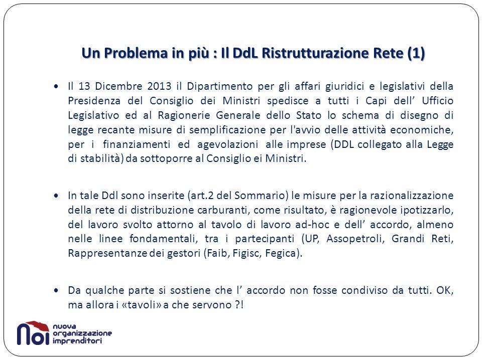 Un Problema in più : Il DdL Ristrutturazione Rete (1) Il 13 Dicembre 2013 il Dipartimento per gli affari giuridici e legislativi della Presidenza del