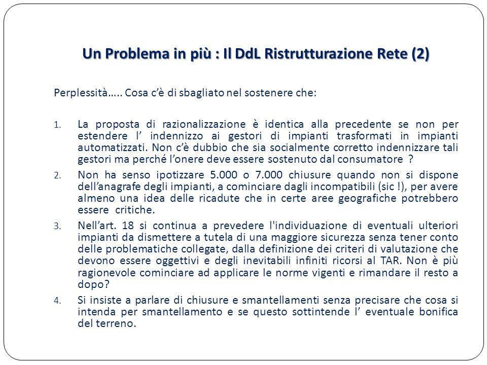 Un Problema in più : Il DdL Ristrutturazione Rete (2) Perplessità….. Cosa c'è di sbagliato nel sostenere che: 1. La proposta di razionalizzazione è id