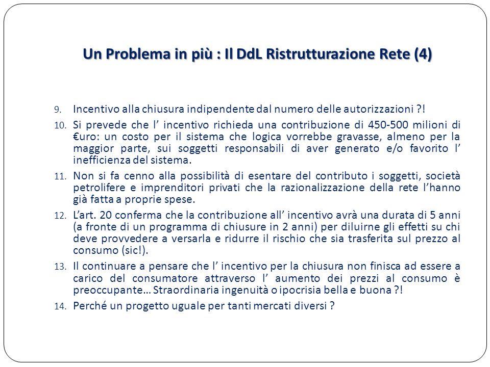 Un Problema in più : Il DdL Ristrutturazione Rete (4) 9. Incentivo alla chiusura indipendente dal numero delle autorizzazioni ?! 10. Si prevede che l'