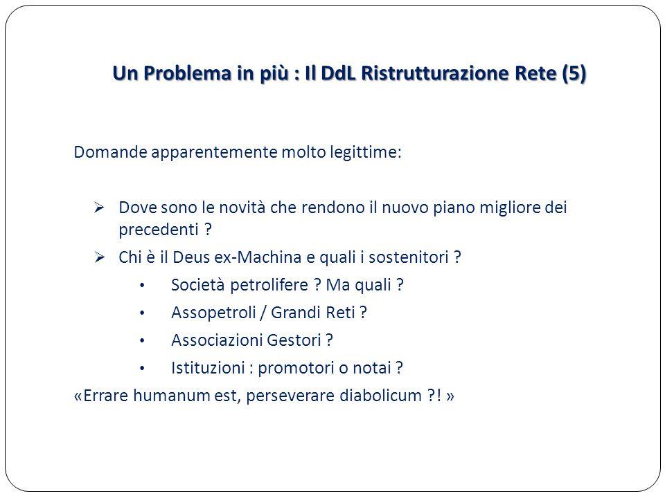 Un Problema in più : Il DdL Ristrutturazione Rete (5) Domande apparentemente molto legittime:  Dove sono le novità che rendono il nuovo piano miglior