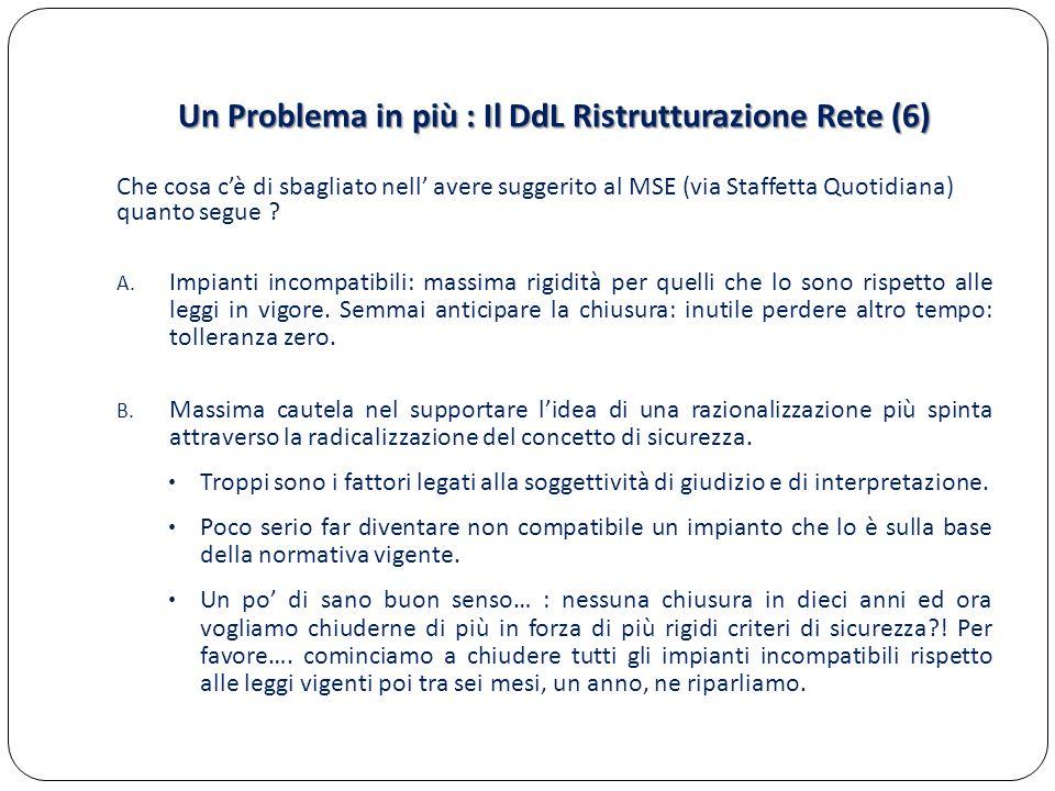 Un Problema in più : Il DdL Ristrutturazione Rete (6) Che cosa c'è di sbagliato nell' avere suggerito al MSE (via Staffetta Quotidiana) quanto segue ?