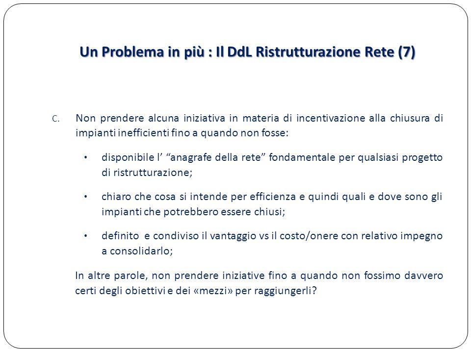 Un Problema in più : Il DdL Ristrutturazione Rete (7) C. Non prendere alcuna iniziativa in materia di incentivazione alla chiusura di impianti ineffic