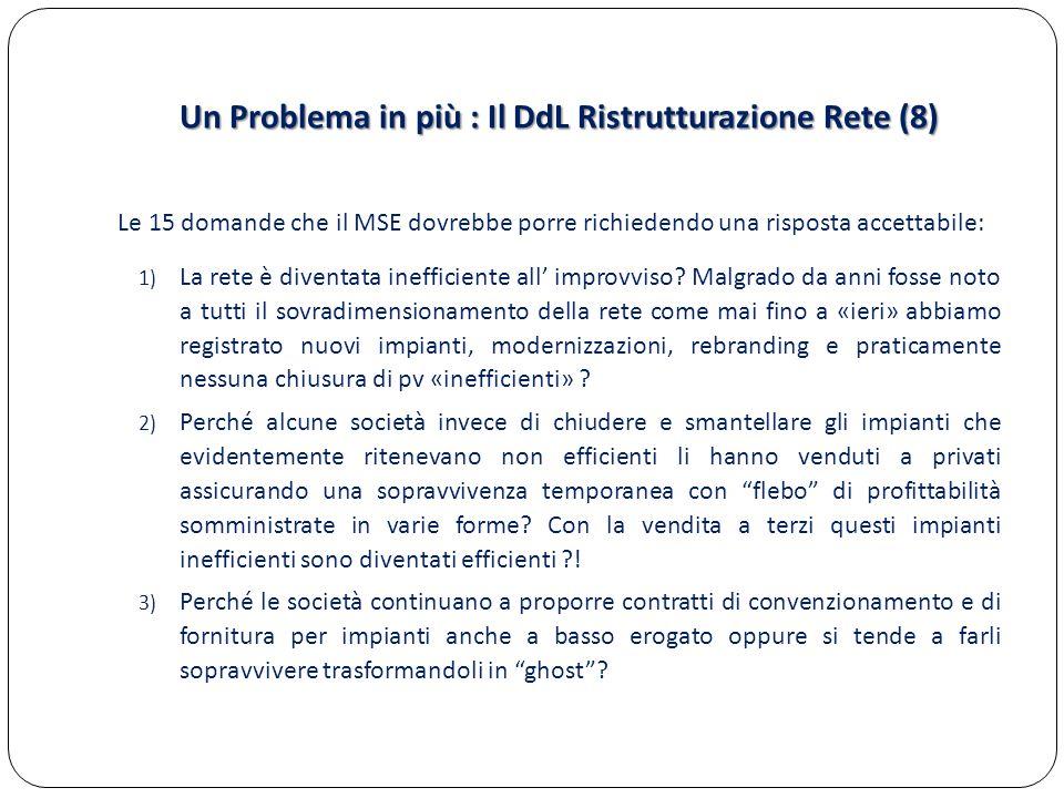 Un Problema in più : Il DdL Ristrutturazione Rete (8) Le 15 domande che il MSE dovrebbe porre richiedendo una risposta accettabile: 1) La rete è diventata inefficiente all' improvviso.