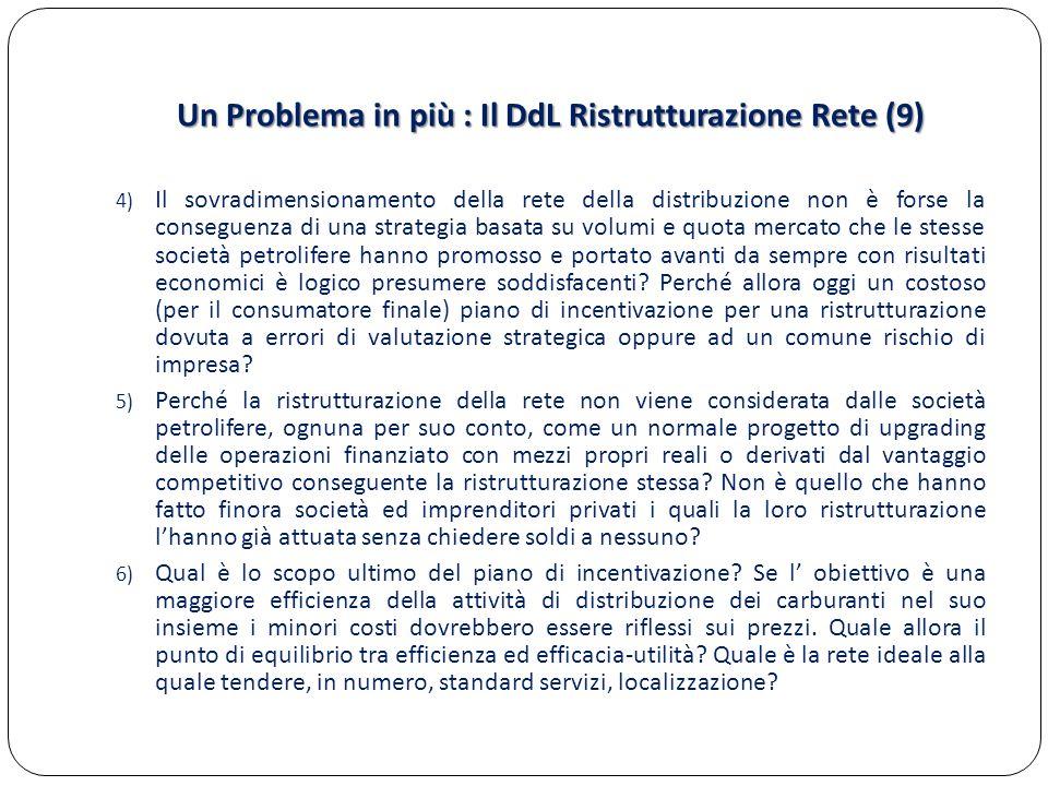 Un Problema in più : Il DdL Ristrutturazione Rete (9) 4) Il sovradimensionamento della rete della distribuzione non è forse la conseguenza di una strategia basata su volumi e quota mercato che le stesse società petrolifere hanno promosso e portato avanti da sempre con risultati economici è logico presumere soddisfacenti.