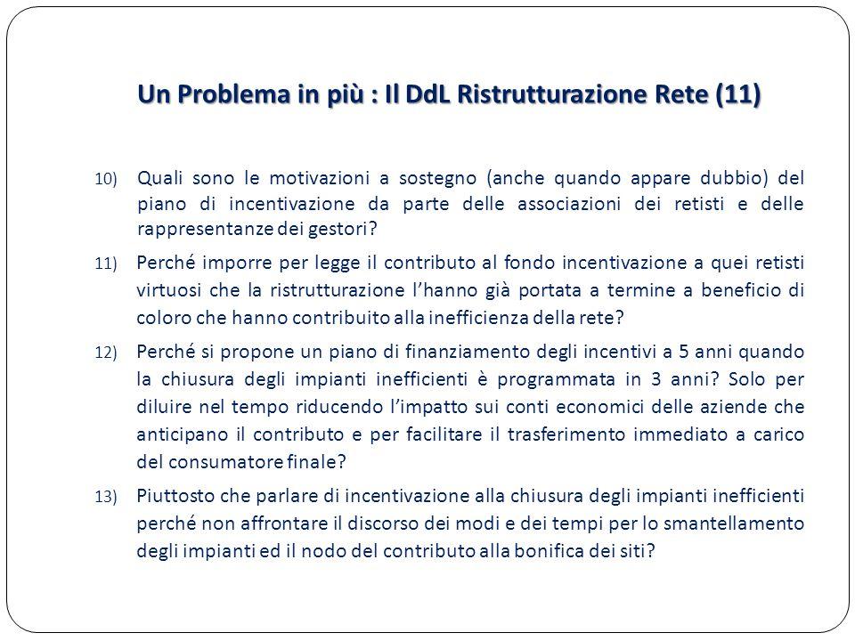 Un Problema in più : Il DdL Ristrutturazione Rete (11) 10) Quali sono le motivazioni a sostegno (anche quando appare dubbio) del piano di incentivazio