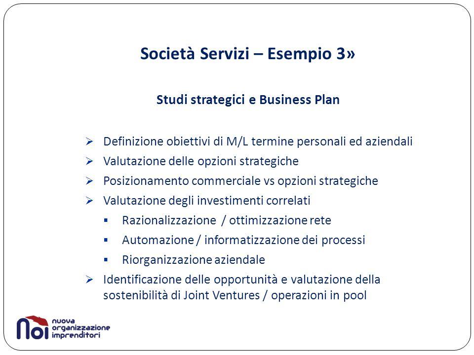Società Servizi – Esempio 3» Studi strategici e Business Plan  Definizione obiettivi di M/L termine personali ed aziendali  Valutazione delle opzion