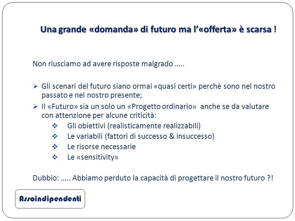 Una grande «domanda» di futuro ma l'«offerta» è scarsa Una grande «domanda» di futuro ma l'«offerta» è scarsa ! Non riusciamo ad avere risposte malgra