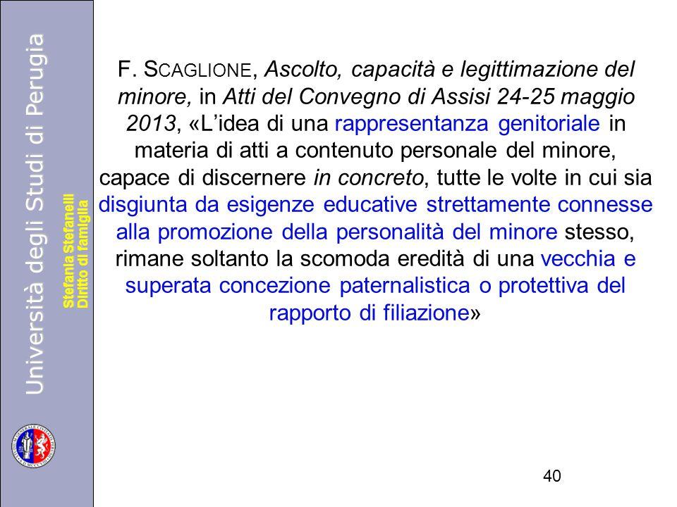 Università degli Studi di Perugia Diritto di famiglia Stefania Stefanelli Università degli Studi di Perugia Diritto di famiglia Stefania Stefanelli F.